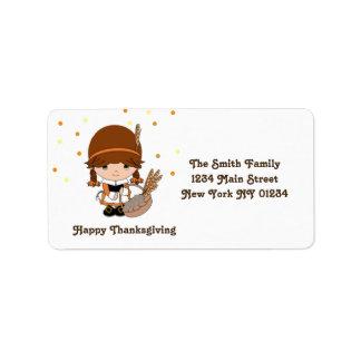 Thanksgiving Little Pilgrim Girl Address Label