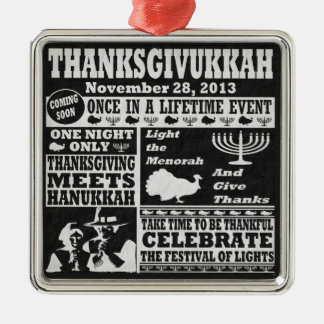 Thanksgiving meets Hanukkah Thanksgivukkah Print Christmas Ornament