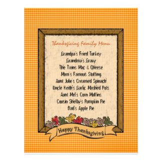 Thanksgiving Menu Template Full Color Flyer