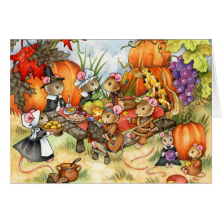 Thanksgiving Mice - Cute Greeting Card