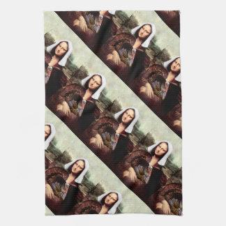 Thanksgiving Mona Lisa Pilgrim Tea Towel