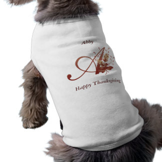 Thanksgiving monogram Letter A Dog Shirt