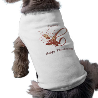 Thanksgiving monogram Letter C Dog Shirt