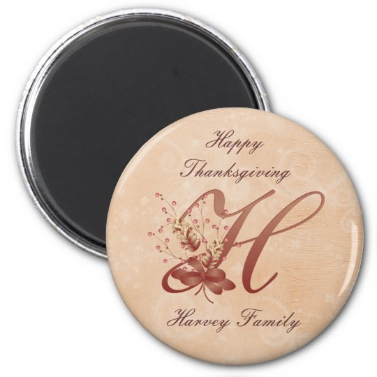 Thanksgiving Monogram Letter H Magnet