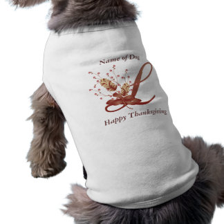 Thanksgiving monogram Letter L Dog Shirt