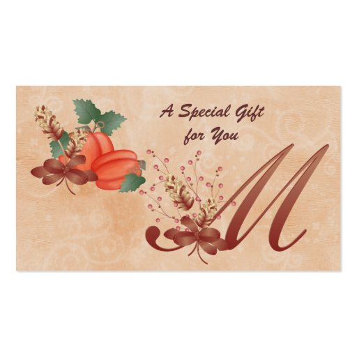 Thanksgiving Monogram Letter M Gift Card Business Cards