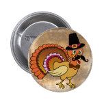 Thanksgiving Moustache Turkey Pin