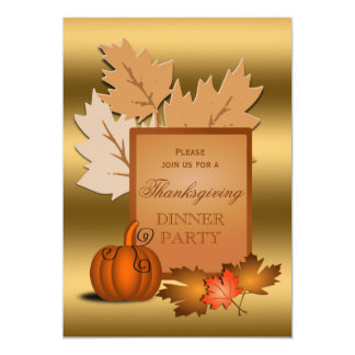 Thanksgiving Party Golden Leaves and Pumpkin 13 Cm X 18 Cm Invitation Card