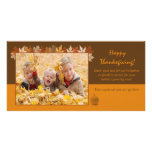 Thanksgiving Photo Card with autumn leaves