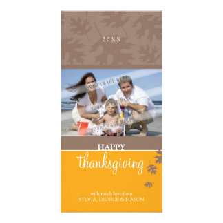 THANKSGIVING PHOTOCARD :: falling leaves 1 Photo Greeting Card