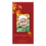 THANKSGIVING PHOTOCARD :: mache leaves 1 Personalized Photo Card