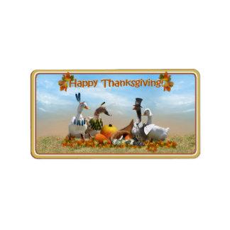 Thanksgiving Pilgrim and Indian Ducks Address Label