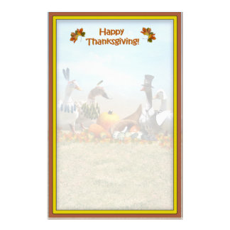 Thanksgiving Pilgrim and Indian Ducks Stationery