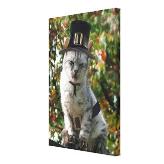 Thanksgiving Pilgrim Cat Stretched Canvas Prints