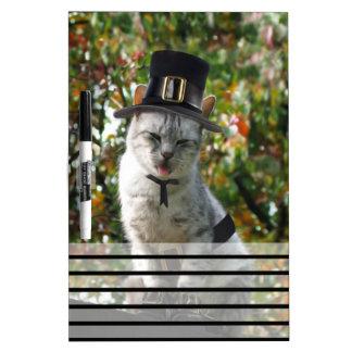 Thanksgiving Pilgrim Cat Dry-Erase Boards