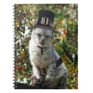 Thanksgiving Pilgrim Cat Spiral Notebook