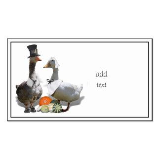 Thanksgiving Pilgrim Ducks Business Cards
