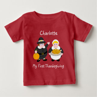 Thanksgiving Pilgrim Fathers, pumpkin & turkey, Baby T-Shirt