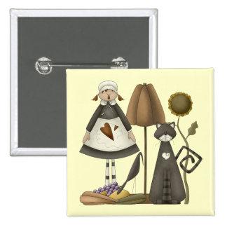 Thanksgiving Pilgrim Life Square Button