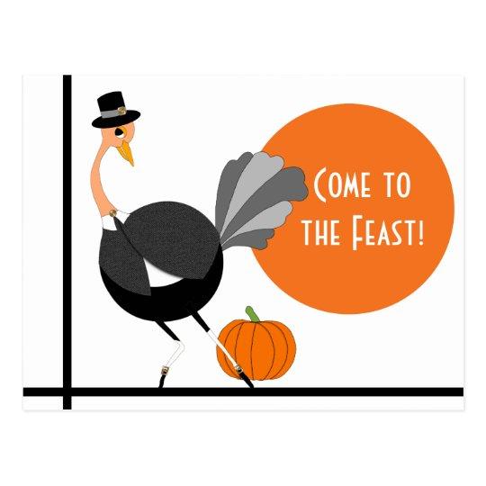 Thanksgiving Pilgrim Ostrich Save the Date Postcard