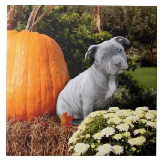 Thanksgiving Pitbull puppy Large Square Tile