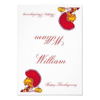 Thanksgiving Place Cards With Turkey 13 Cm X 18 Cm Invitation Card