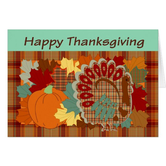 Thanksgiving plaid turkey card