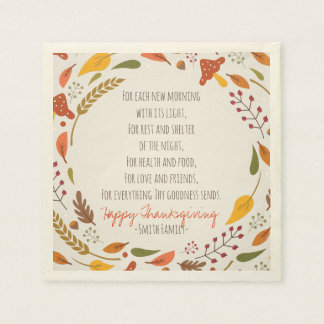 Thanksgiving Poem. Happy Thanksgiving. Custom. Paper Napkin
