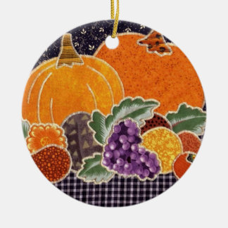 Thanksgiving Pumpkin and Friends Patchwork Christmas Ornament