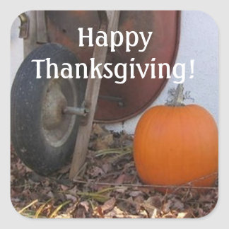 Thanksgiving Pumpkin and Wheelbarrow Square Sticker