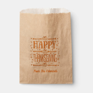 Thanksgiving Pumpkin Arrow Custom Favor Bags