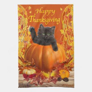 Thanksgiving Pumpkin Kitty Tea Towel