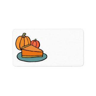 Thanksgiving Pumpkin Pie Address Sticker Address Label