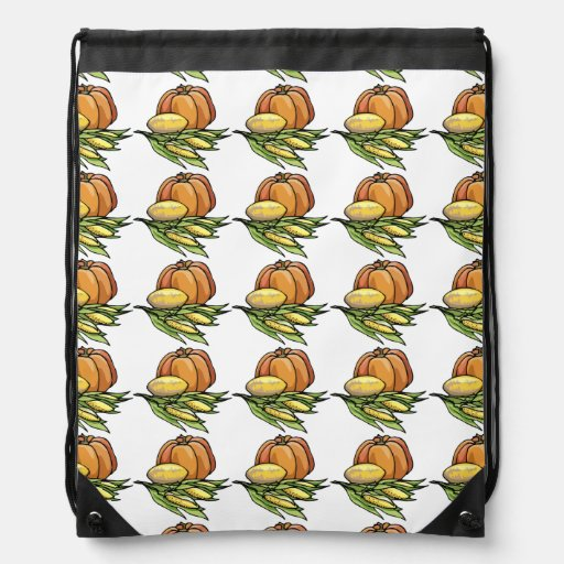 Thanksgiving Pumpkin Drawstring Backpack