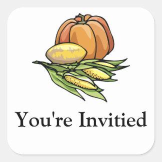 Thanksgiving Pumpkin Square Stickers