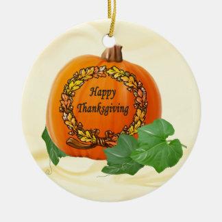 Thanksgiving Pumpkin Vintage Autumn Acorn Wreath Round Ceramic Decoration