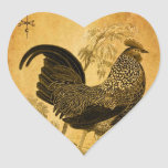 Thanksgiving Rooster Heart Sticker