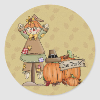 Thanksgiving Scarecrow, Pumpkins Classic Round Sticker