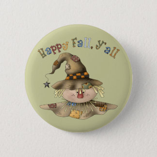 Thanksgiving Scarecrow Round Button