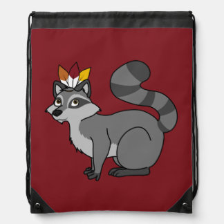 Thanksgiving Silver Raccoon with Indian Headdress Backpacks