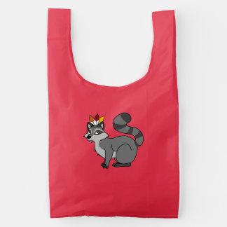 Thanksgiving Silver Raccoon with Indian Headdress Baggu Reusable Bag