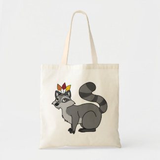 Thanksgiving Silver Raccoon with Indian Headdress Budget Tote Bag