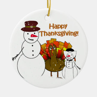 Thanksgiving Snowmen Christmas Ornament