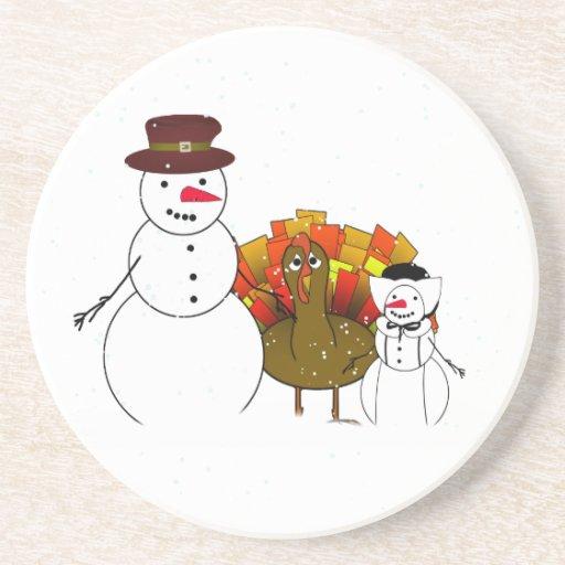 Thanksgiving Snowmen Drink Coaster
