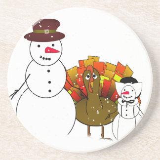 Thanksgiving Snowmen Beverage Coasters