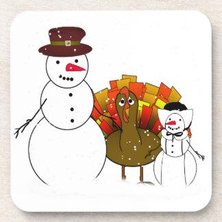 Thanksgiving Snowmen Beverage Coaster