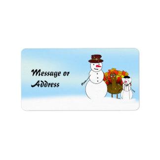 Thanksgiving Snowmen Address Label