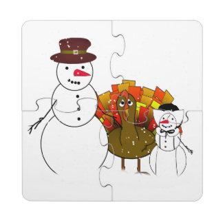 Thanksgiving Snowmen with Worried Turkey Puzzle Coaster
