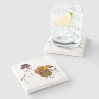 Thanksgiving Snowmen with Worried Turkey Stone Beverage Coaster