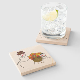 Thanksgiving Snowmen with Worried Turkey Stone Coaster